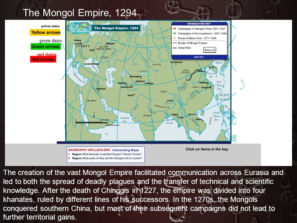 The creation of the vast Mongol Empire facilitated communication across Eurasia and led to both the spread of deadly plagues and the transfer of techn