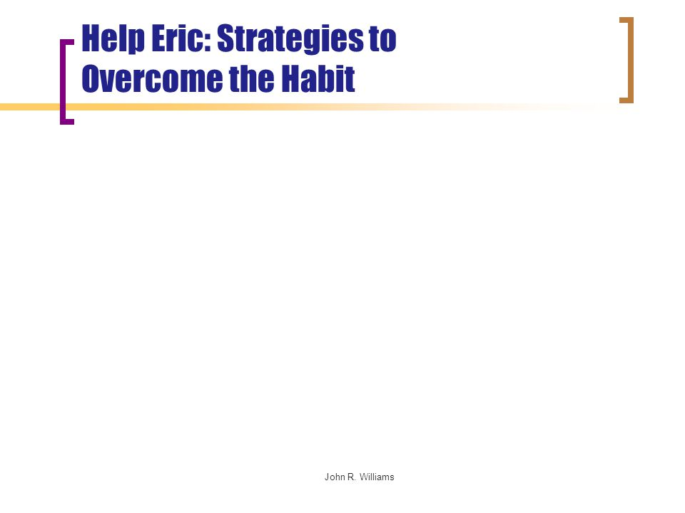 John R. Williams Help Eric: Strategies to Overcome the Habit