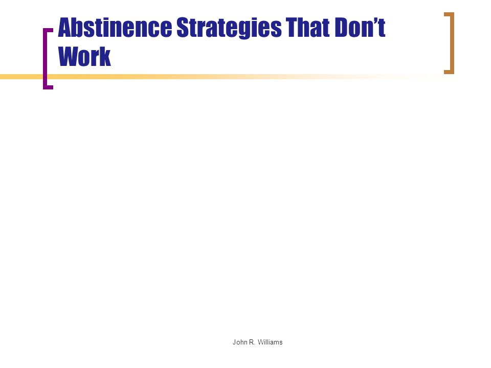 John R. Williams Abstinence Strategies That Don't Work