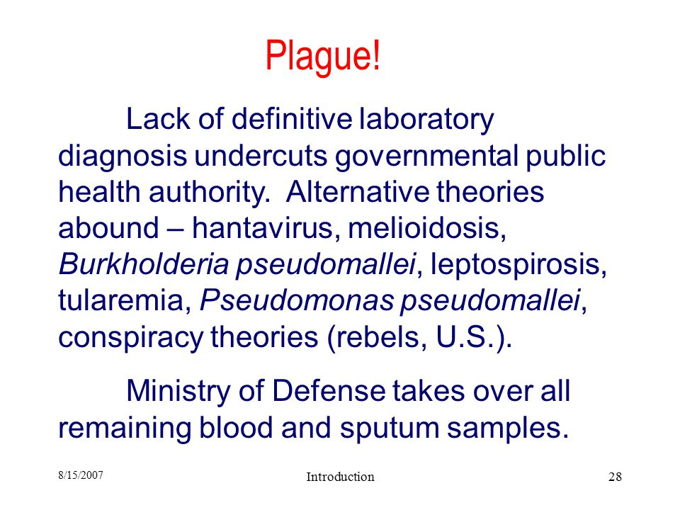 8/15/2007 Introduction28 Plague.