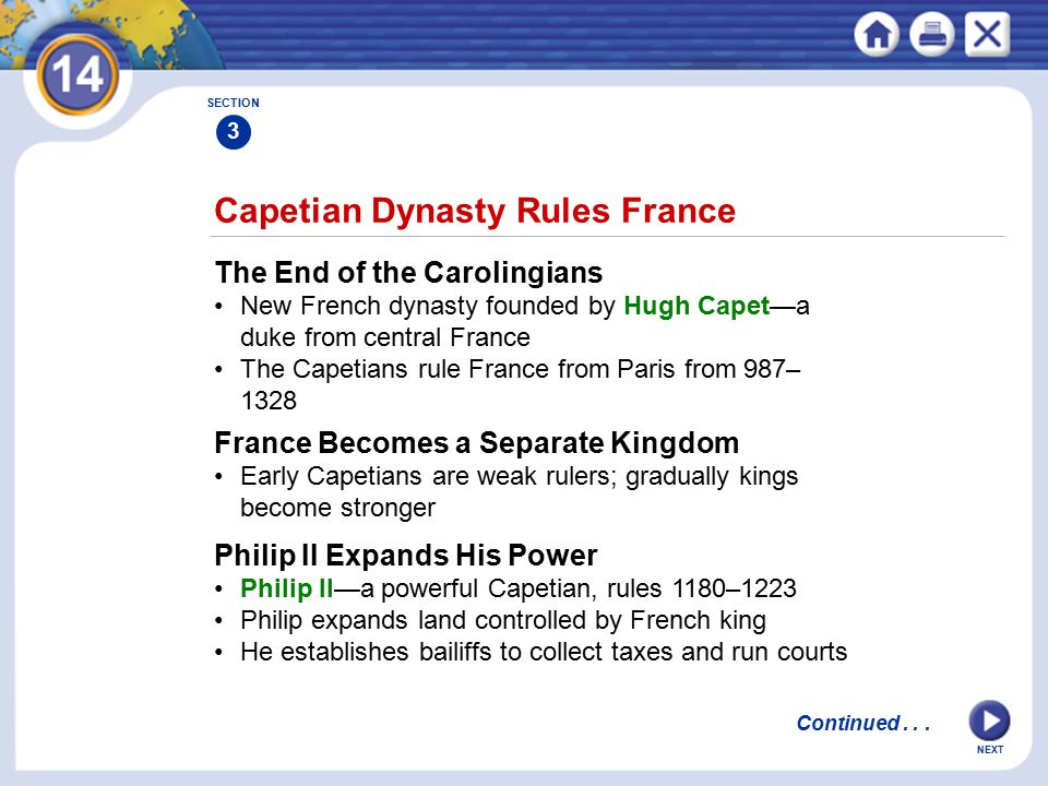 NEXT Capetian Dynasty Rules France The End of the Carolingians New French dynasty founded by Hugh Capet—a duke from central France The Capetians rule France from Paris from 987– 1328 France Becomes a Separate Kingdom Early Capetians are weak rulers; gradually kings become stronger SECTION 3 Philip II Expands His Power Philip II—a powerful Capetian, rules 1180–1223 Philip expands land controlled by French king He establishes bailiffs to collect taxes and run courts Continued...