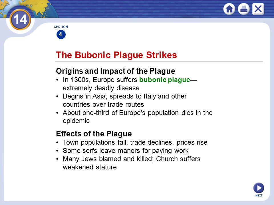 NEXT The Bubonic Plague Strikes Origins and Impact of the Plague In 1300s, Europe suffers bubonic plague— extremely deadly disease Begins in Asia; spreads to Italy and other countries over trade routes About one-third of Europe's population dies in the epidemic SECTION 4 Effects of the Plague Town populations fall, trade declines, prices rise Some serfs leave manors for paying work Many Jews blamed and killed; Church suffers weakened stature