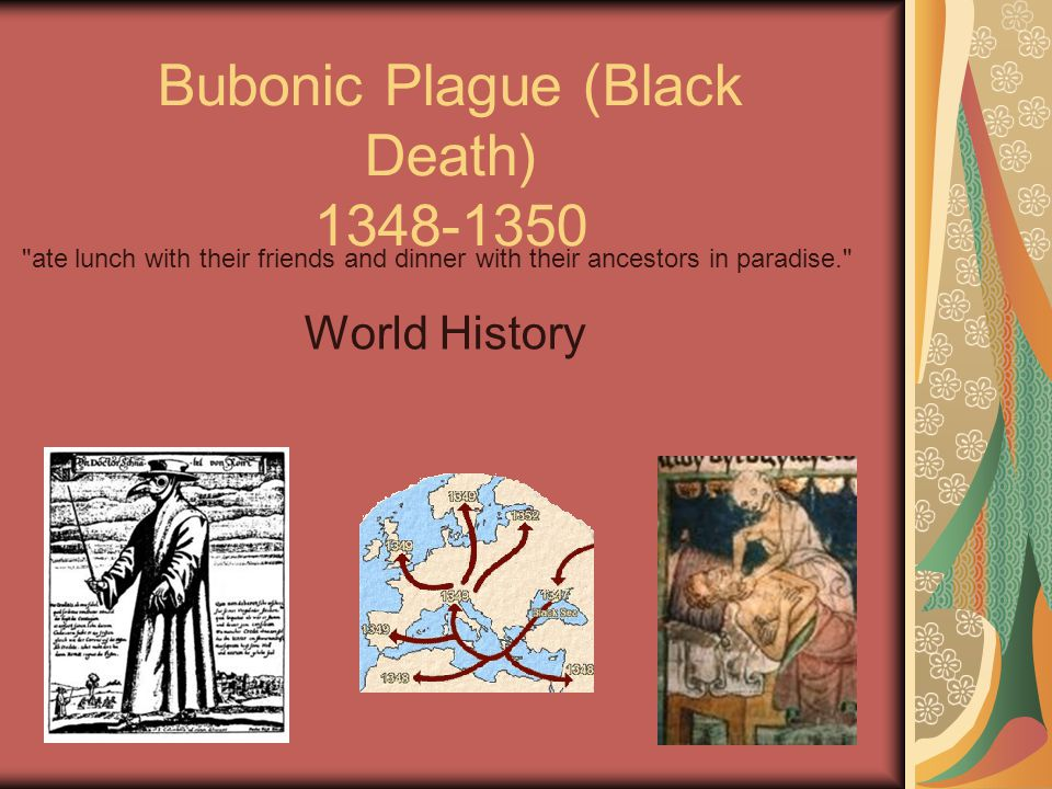 1 Bubonic Plague (Black Death) 1348-1350 World History