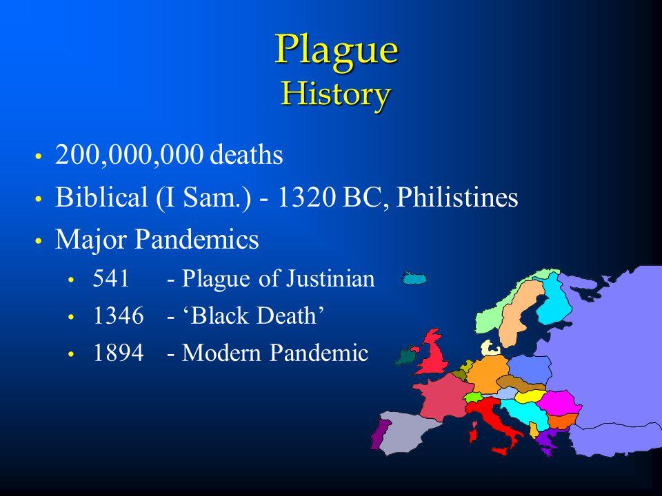 Plague History 200,000,000 deaths Biblical (I Sam.) - 1320 BC, Philistines Major Pandemics 541- Plague of Justinian 1346- 'Black Death' 1894- Modern P