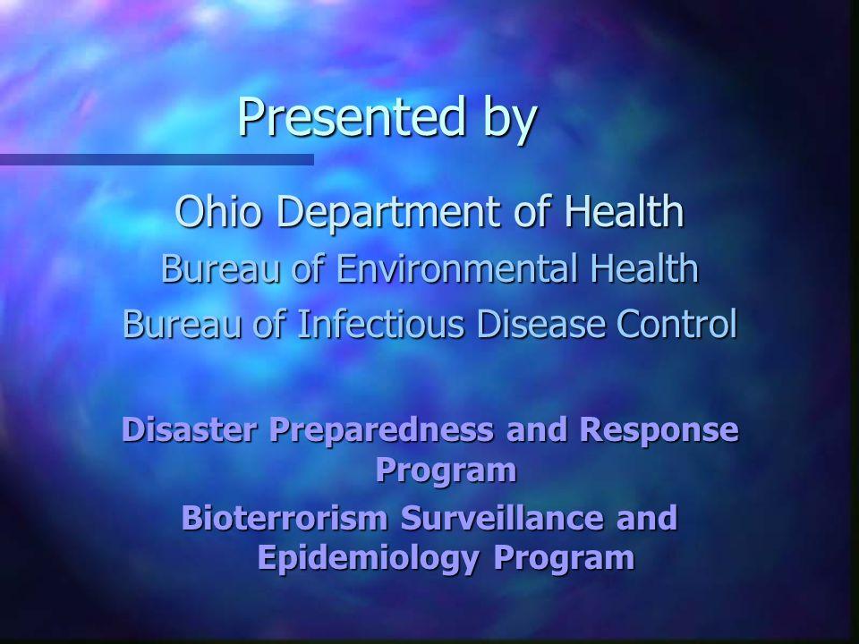 Transmission Type: BioT n Aerosolized –Anthrax –Smallpox –Q Fever –Tularemia –Plague n Foodborne –Ricin –Botulinum