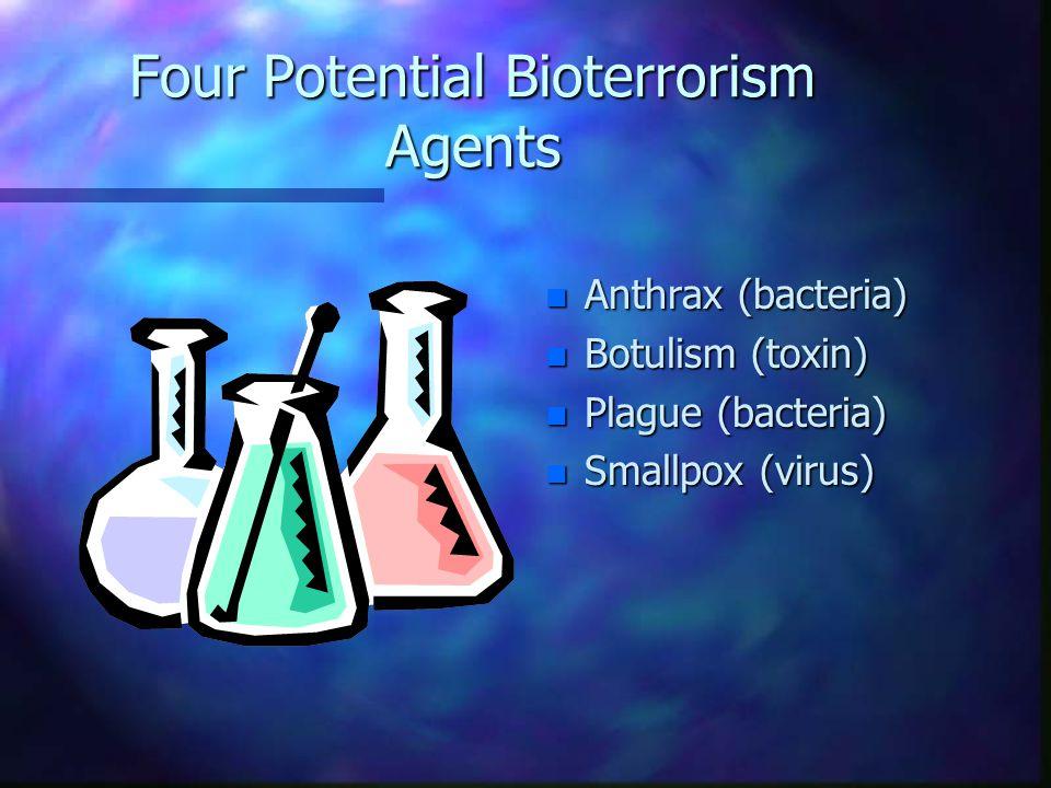 Four Potential Bioterrorism Agents n Anthrax (bacteria) n Botulism (toxin) n Plague (bacteria) n Smallpox (virus)