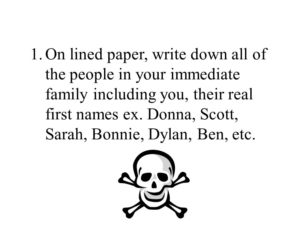 1.On lined paper, write down all of the people in your immediate family including you, their real first names ex.