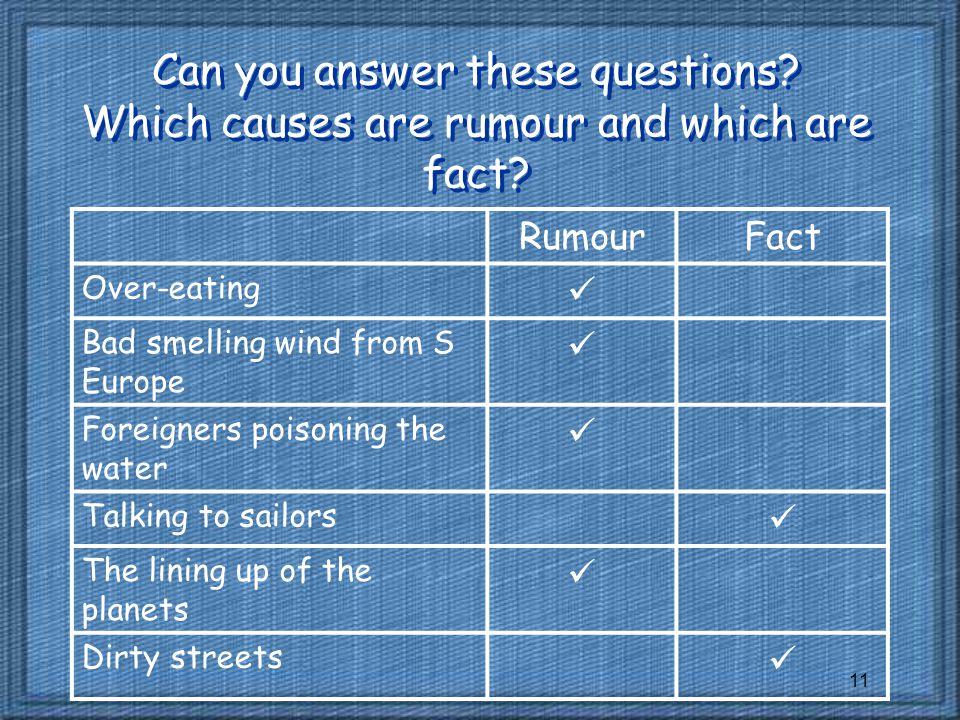 11 Can you answer these questions.Which causes are rumour and which are fact.