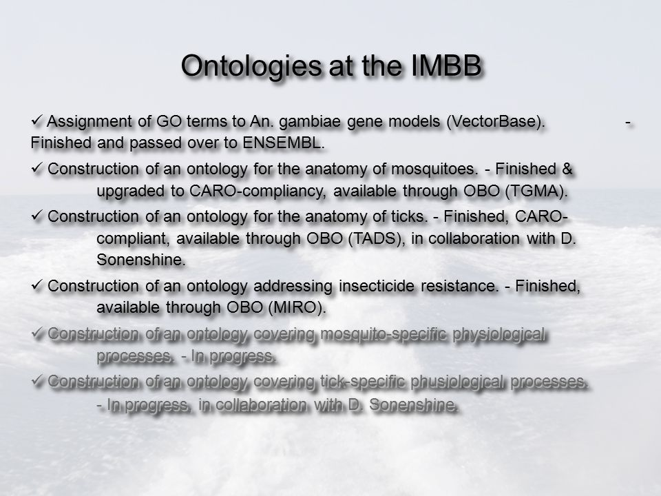 Ontologies at the IMBB Assignment of GO terms to An.