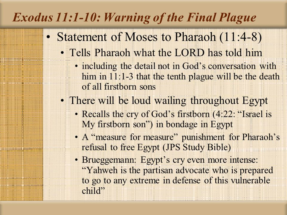 Exodus 11:1-10: Warning of the Final Plague Statement of Moses to Pharaoh (11:4-8) Note I will go throughout Egypt and every firstborn son… will die allows ambiguity about God's direct action here God will make a distinction between Egypt and Israel No mention that blood on door is needed for God to make a distinction Moses leaves Pharaoh of his own accord in hot anger Fretheim: Anger that in the end this final plague needed