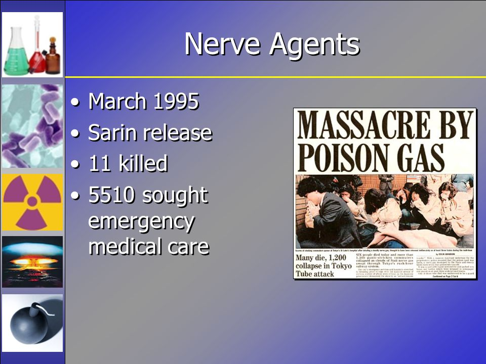 Nerve Agents March 1995 Sarin release 11 killed 5510 sought emergency medical care March 1995 Sarin release 11 killed 5510 sought emergency medical care