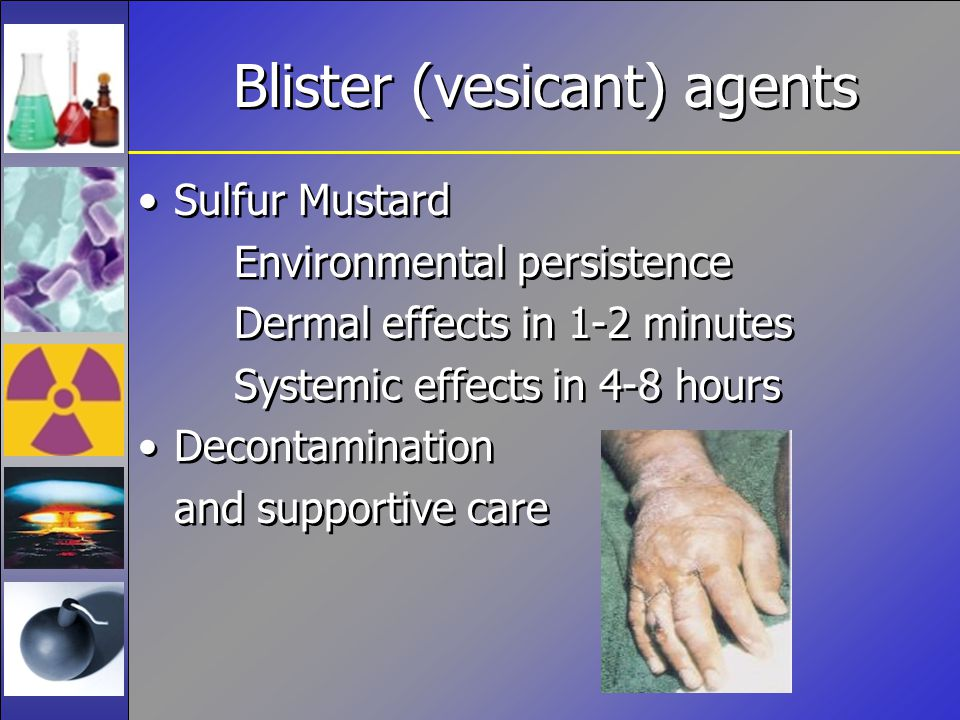 Blister (vesicant) agents Sulfur Mustard Environmental persistence Dermal effects in 1-2 minutes Systemic effects in 4-8 hours Decontamination and supportive care Sulfur Mustard Environmental persistence Dermal effects in 1-2 minutes Systemic effects in 4-8 hours Decontamination and supportive care