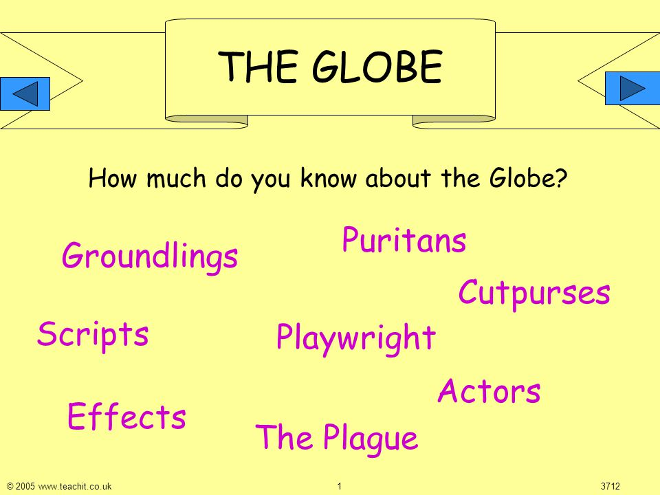 THE GLOBE © 2005 www.teachit.co.uk 13712 How much do you know about the Globe.