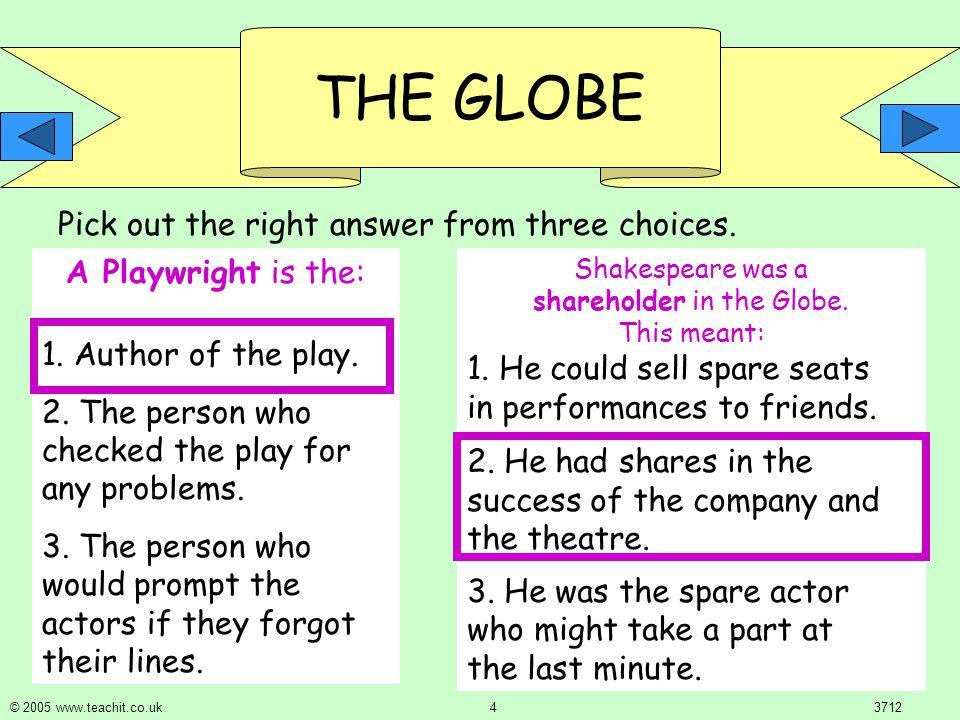 THE GLOBE © 2005 www.teachit.co.uk 33712 Groundlings were: 1.