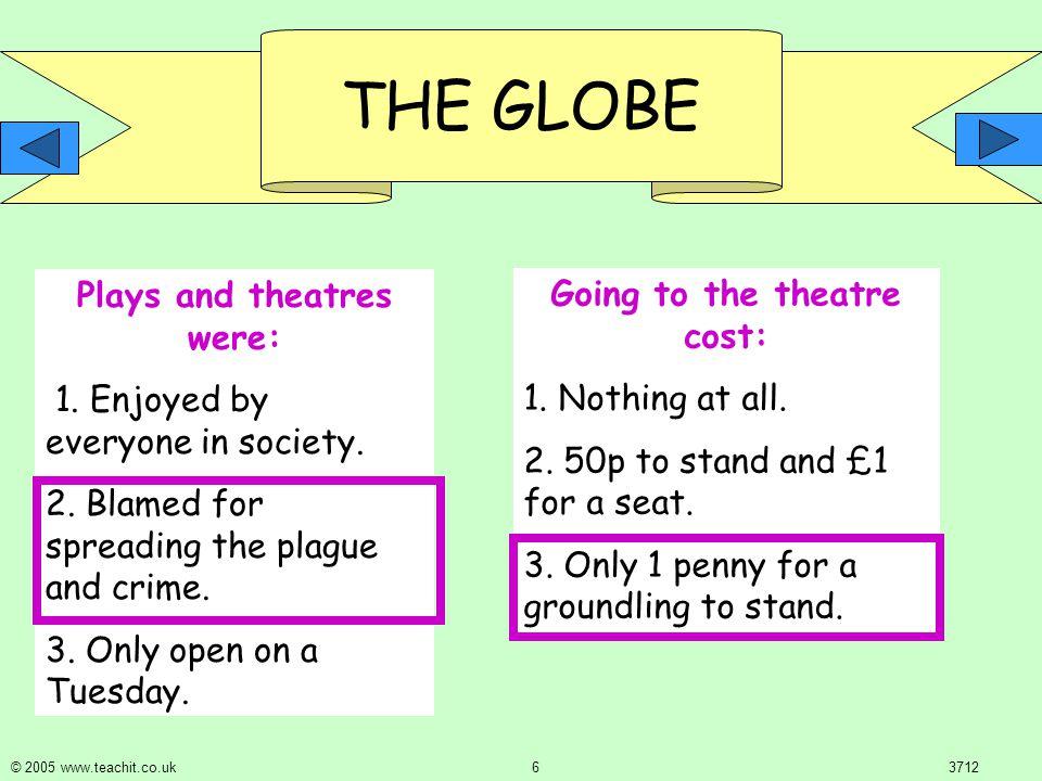 THE GLOBE © 2005 www.teachit.co.uk 53712 Puritans were: 1.