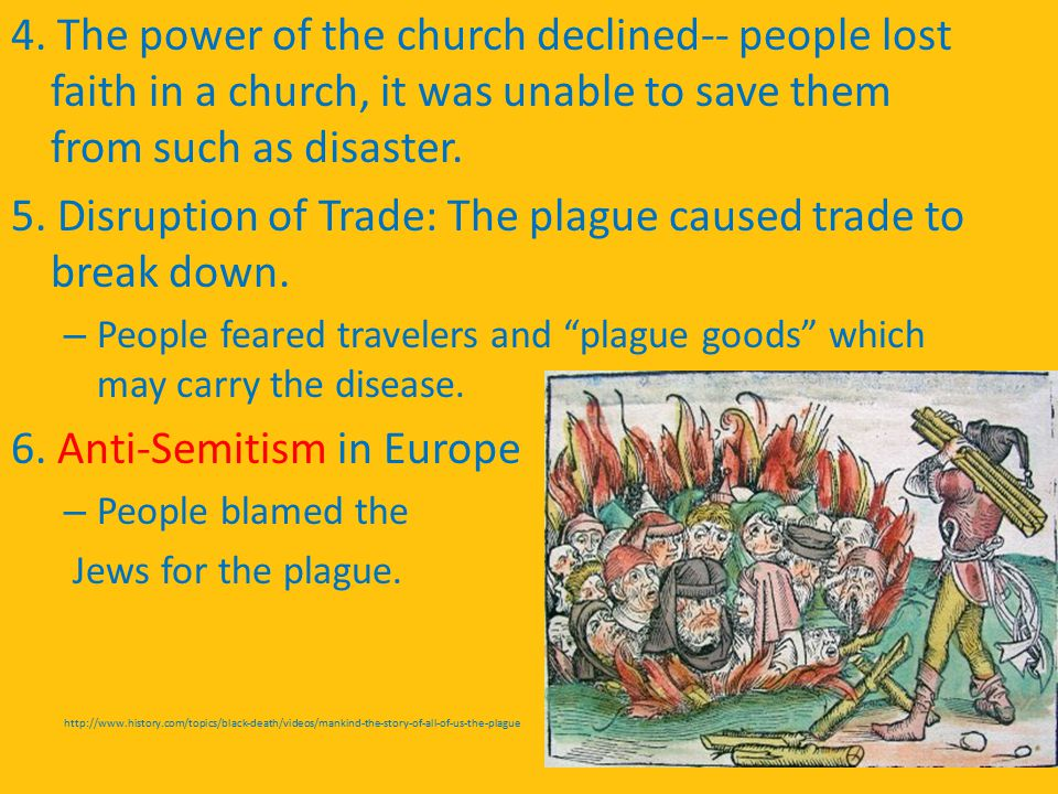 4. The power of the church declined-- people lost faith in a church, it was unable to save them from such as disaster. 5. Disruption of Trade: The pla