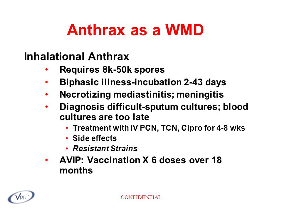 CONFIDENTIAL Anthrax as a WMD Inhalational Anthrax Requires 8k-50k spores Biphasic illness-incubation 2-43 days Necrotizing mediastinitis; meningitis Diagnosis difficult-sputum cultures; blood cultures are too late Treatment with IV PCN, TCN, Cipro for 4-8 wks Side effects Resistant Strains AVIP: Vaccination X 6 doses over 18 months