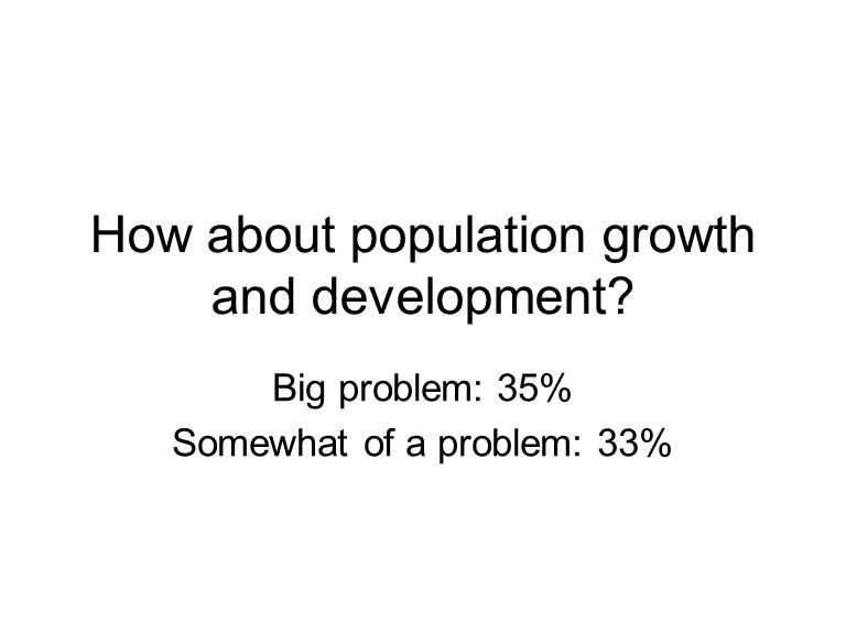 How about population growth and development? Big problem: 35% Somewhat of a problem: 33%