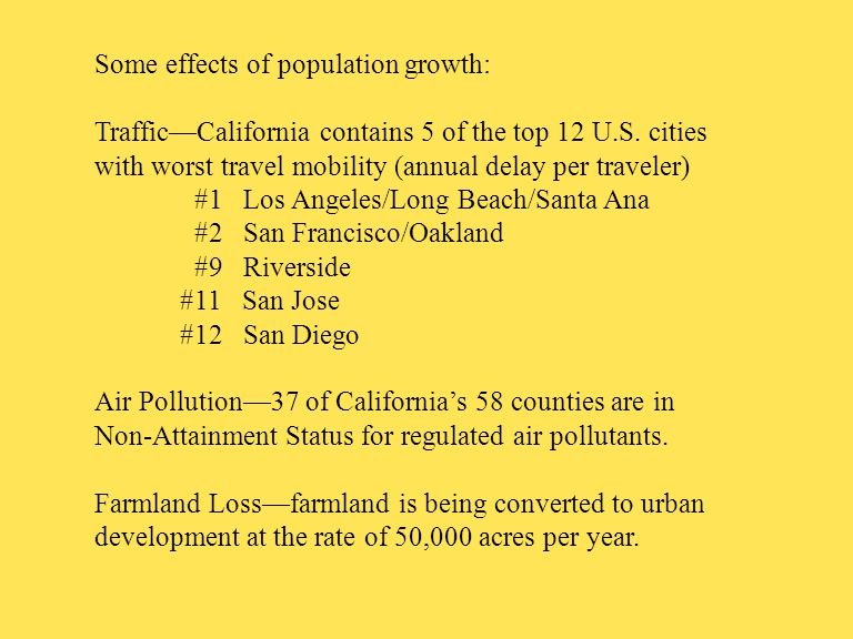 Some effects of population growth: Traffic—California contains 5 of the top 12 U.S.