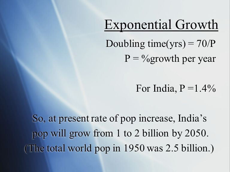 Exponential Growth Doubling time(yrs) = 70/P P = %growth per year For India, P =1.4% So, at present rate of pop increase, India's pop will grow from 1 to 2 billion by 2050.