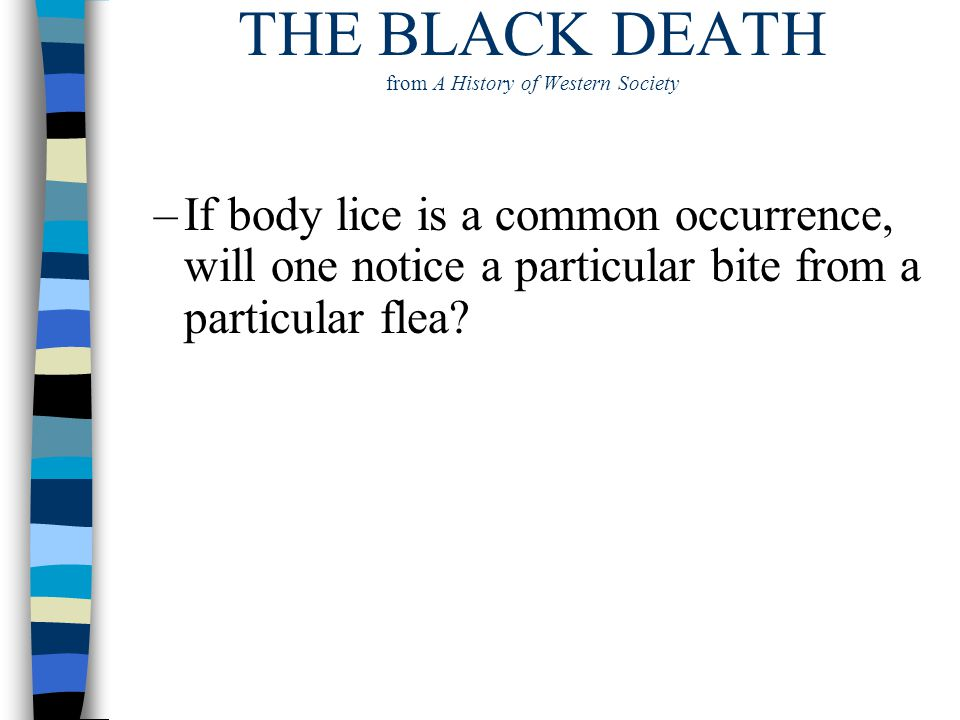 THE BLACK DEATH from A History of Western Society –If body lice is a common occurrence, will one notice a particular bite from a particular flea?