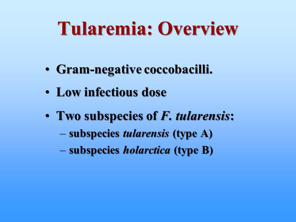 Tularemia: Overview Gram-negative coccobacilli.Gram-negative coccobacilli. Low infectious doseLow infectious dose Two subspecies of F. tularensis:Two