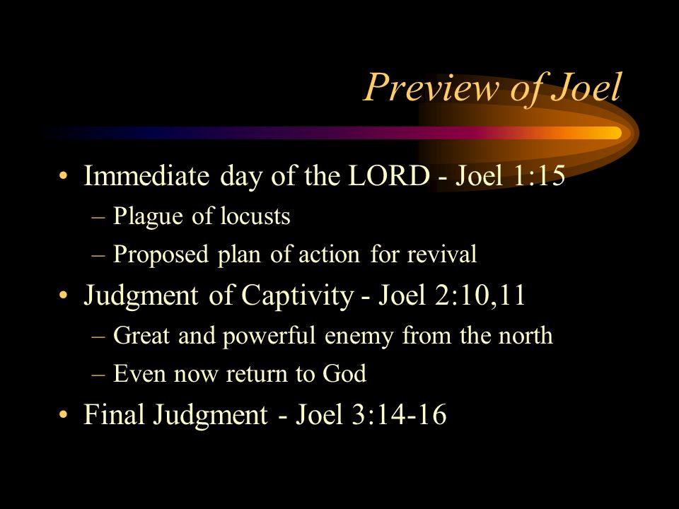 Preview of Joel Immediate day of the LORD - Joel 1:15 –Plague of locusts –Proposed plan of action for revival Judgment of Captivity - Joel 2:10,11 –Great and powerful enemy from the north –Even now return to God Final Judgment - Joel 3:14-16