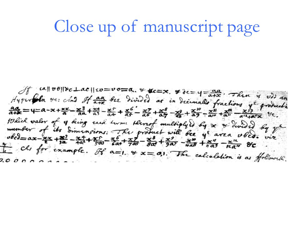 Close up of manuscript page