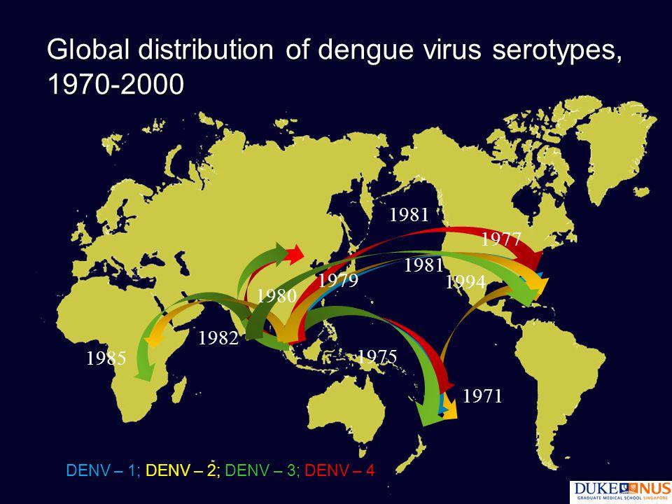 Global distribution of dengue virus serotypes, 1970-2000 1971 1975 1981 DENV – 1; DENV – 2; DENV – 3; DENV – 4 1985 1981 1994 1982 1980 1977 1979
