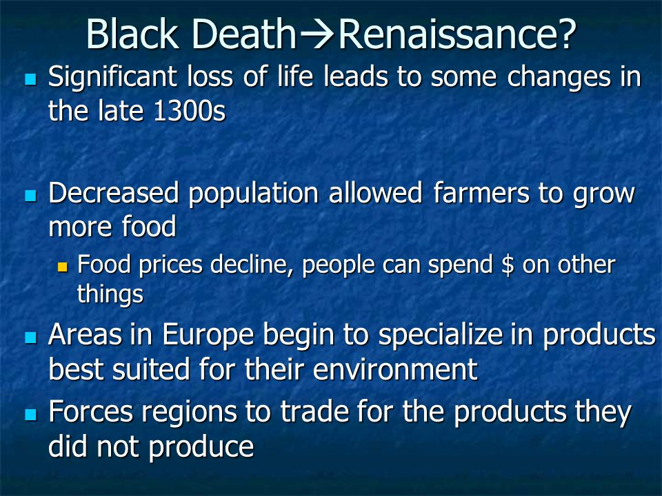 Black Death  Renaissance.