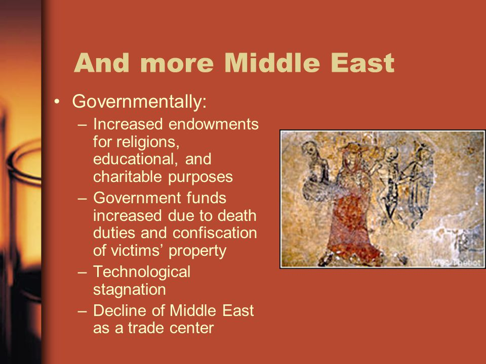 And more Middle East Governmentally: –Increased endowments for religions, educational, and charitable purposes –Government funds increased due to deat
