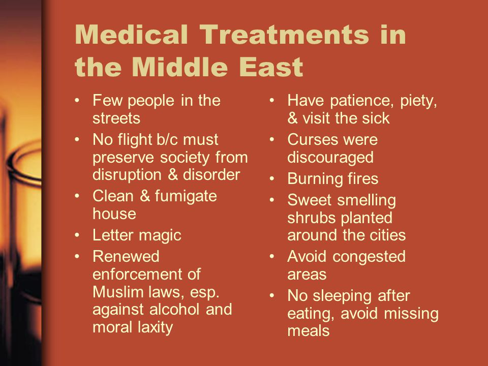 Medical Treatments in the Middle East Few people in the streets No flight b/c must preserve society from disruption & disorder Clean & fumigate house