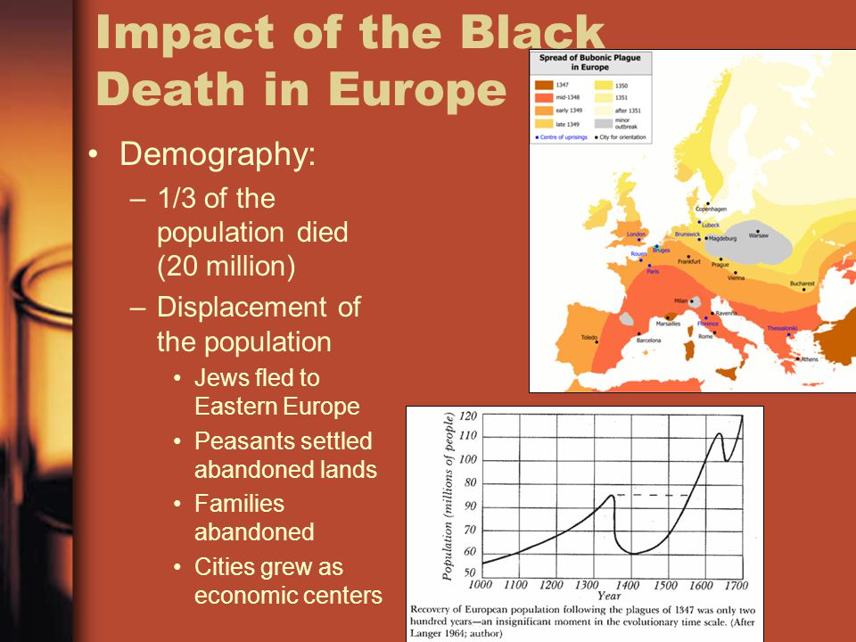 Impact of the Black Death in Europe Demography: –1/3 of the population died (20 million) –Displacement of the population Jews fled to Eastern Europe P