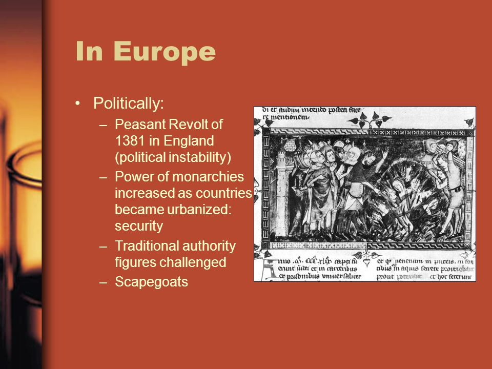 In Europe Politically: –Peasant Revolt of 1381 in England (political instability) –Power of monarchies increased as countries became urbanized: securi