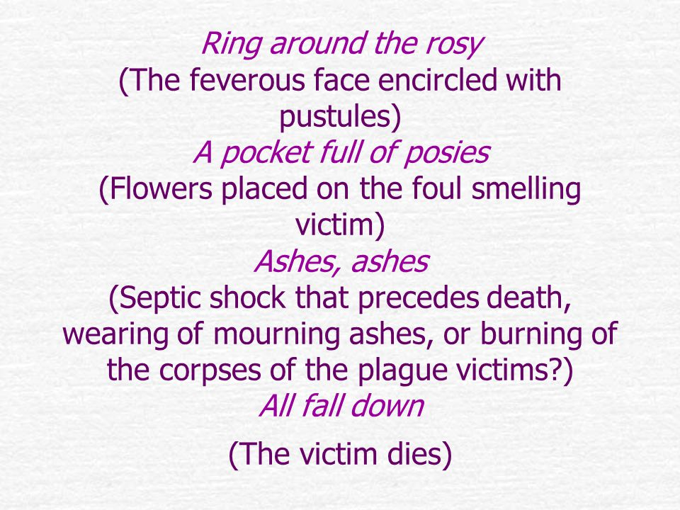 Ring around the rosy (The feverous face encircled with pustules) A pocket full of posies (Flowers placed on the foul smelling victim) Ashes, ashes (Septic shock that precedes death, wearing of mourning ashes, or burning of the corpses of the plague victims ) All fall down (The victim dies)