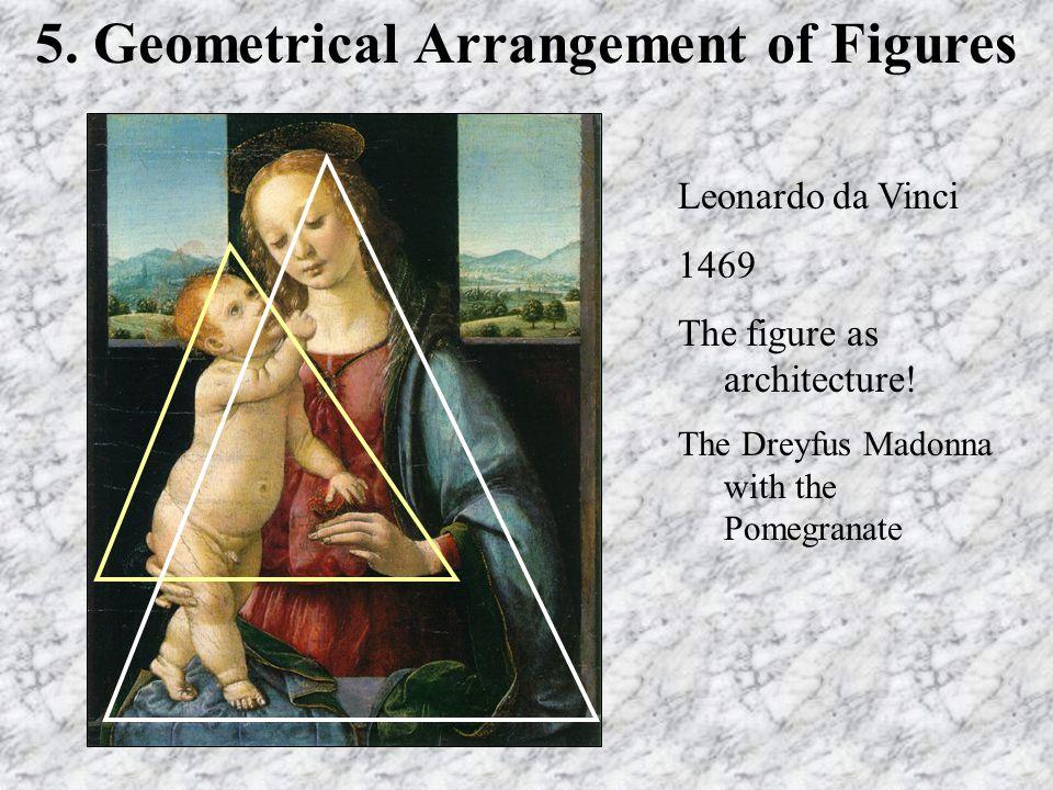5. Geometrical Arrangement of Figures Leonardo da Vinci 1469 The figure as architecture! The Dreyfus Madonna with the Pomegranate