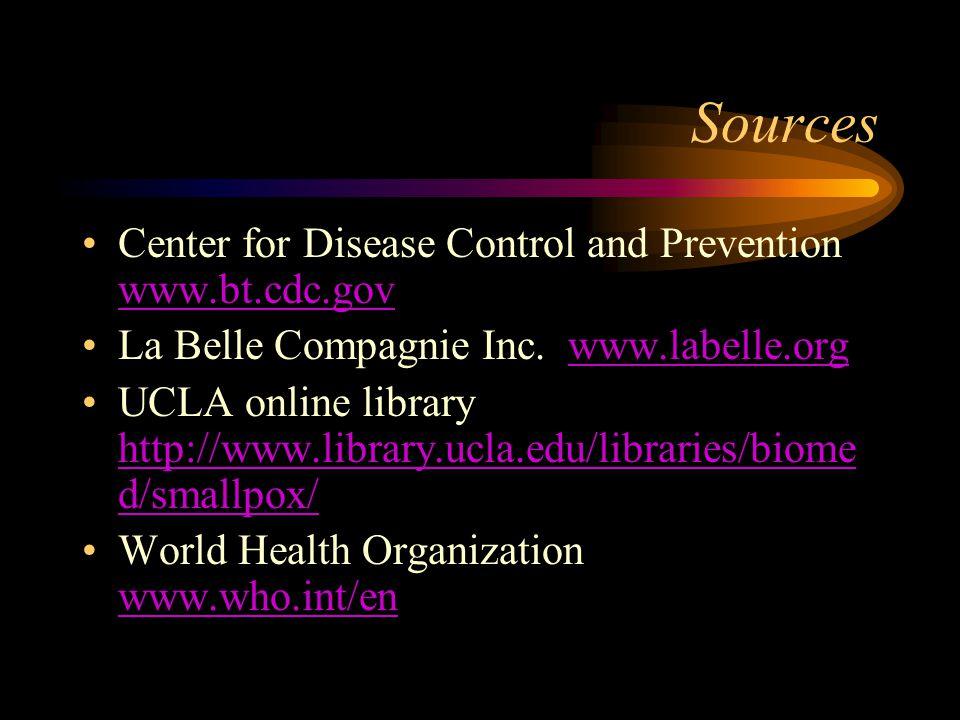 Sources Center for Disease Control and Prevention www.bt.cdc.gov www.bt.cdc.gov La Belle Compagnie Inc. www.labelle.orgwww.labelle.org UCLA online lib