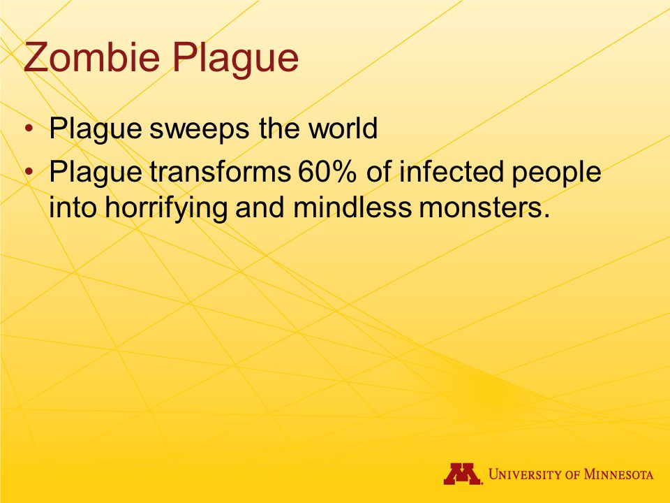 Zombie Plague Plague sweeps the world Plague transforms 60% of infected people into horrifying and mindless monsters.