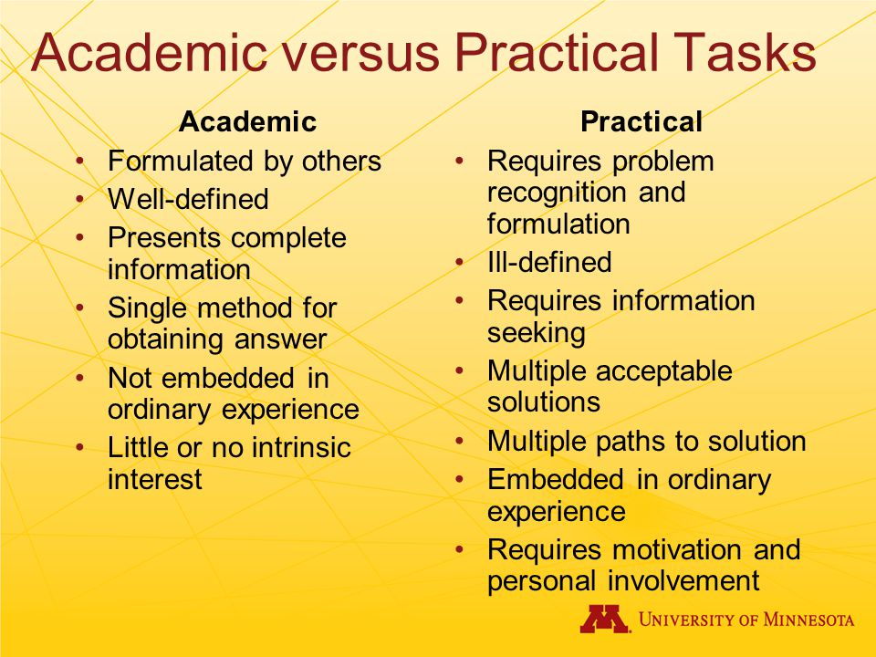 Academic versus Practical Tasks Academic Formulated by others Well-defined Presents complete information Single method for obtaining answer Not embedded in ordinary experience Little or no intrinsic interest Practical Requires problem recognition and formulation Ill-defined Requires information seeking Multiple acceptable solutions Multiple paths to solution Embedded in ordinary experience Requires motivation and personal involvement