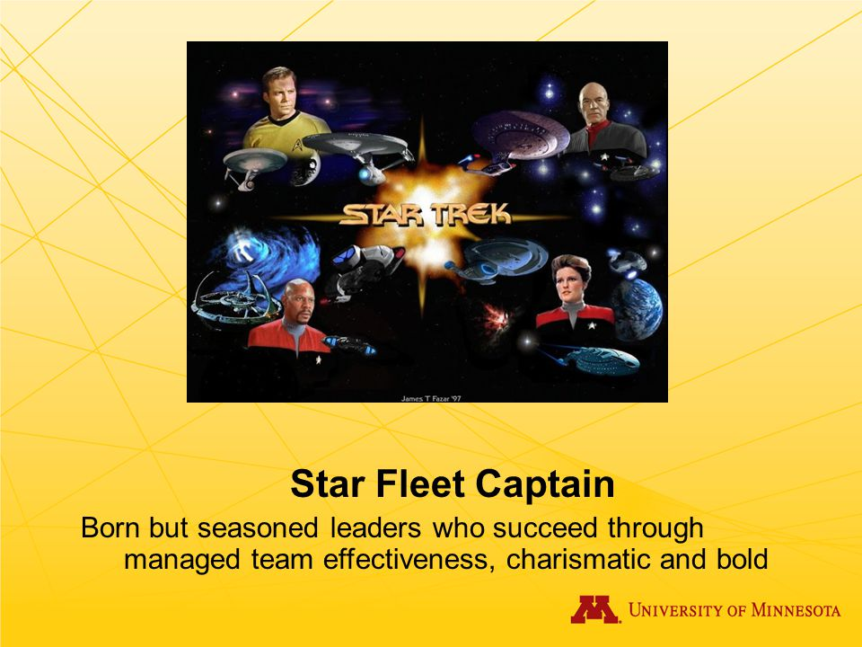 Star Fleet Captain Born but seasoned leaders who succeed through managed team effectiveness, charismatic and bold