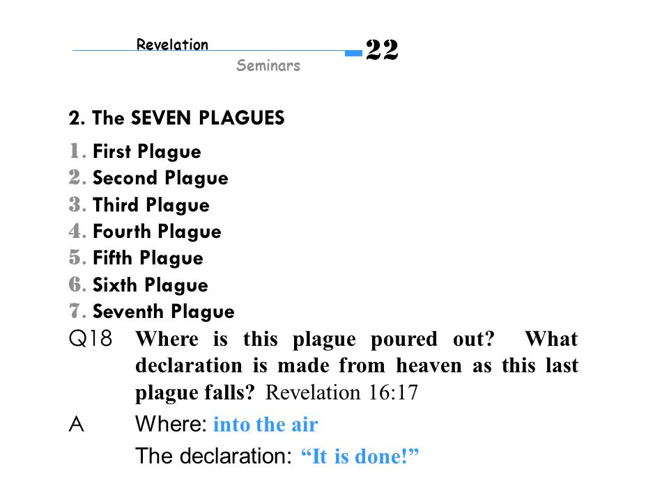 1. First Plague 2. Second Plague 3. Third Plague 4.