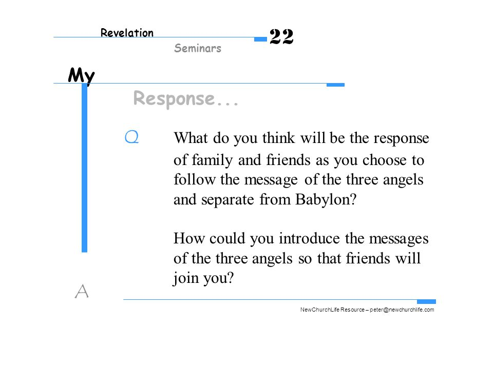 My Response... Q What do you think will be the response of family and friends as you choose to follow the message of the three angels and separate fro