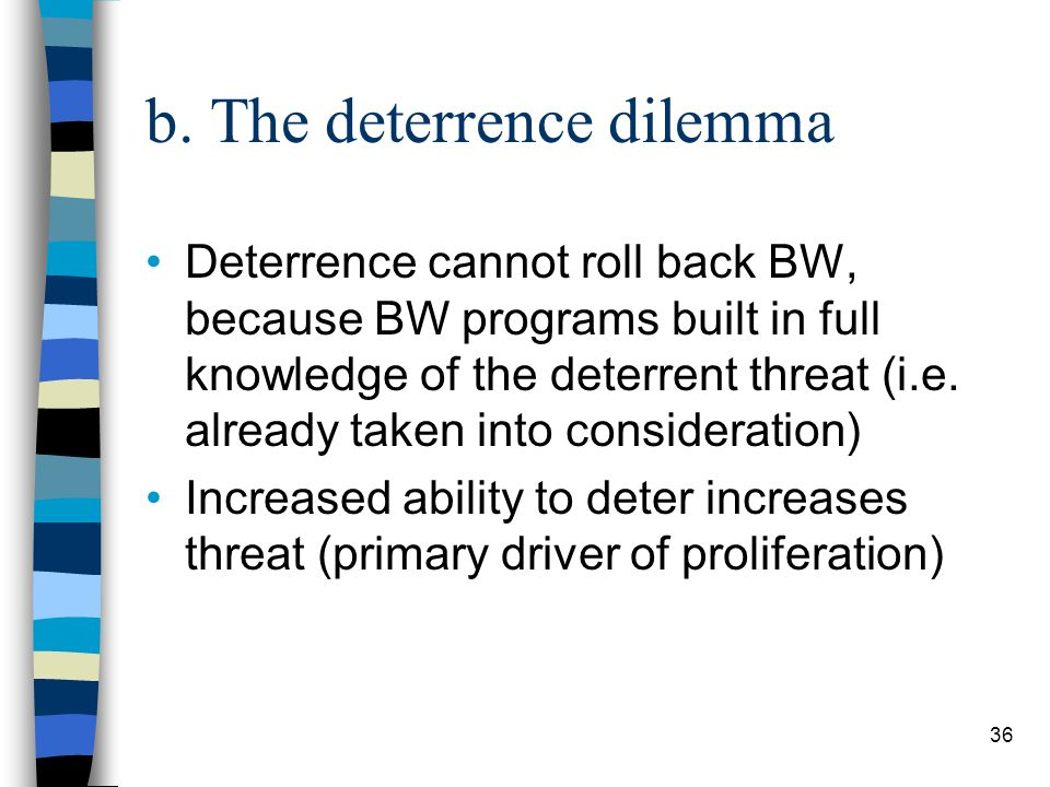36 b. The deterrence dilemma Deterrence cannot roll back BW, because BW programs built in full knowledge of the deterrent threat (i.e. already taken i