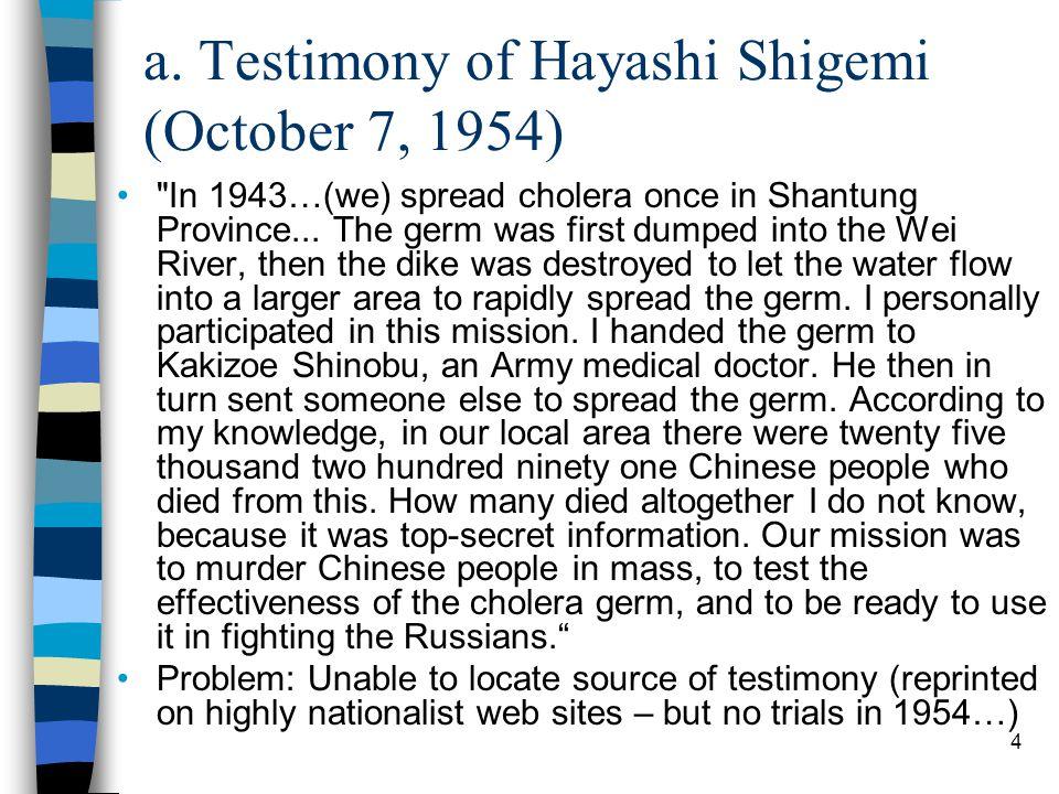 4 a. Testimony of Hayashi Shigemi (October 7, 1954)