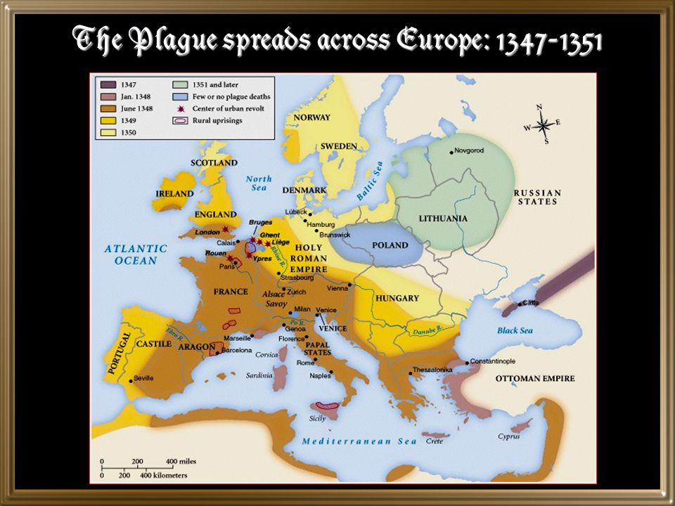 The Plague spreads across Europe: 1347-1351