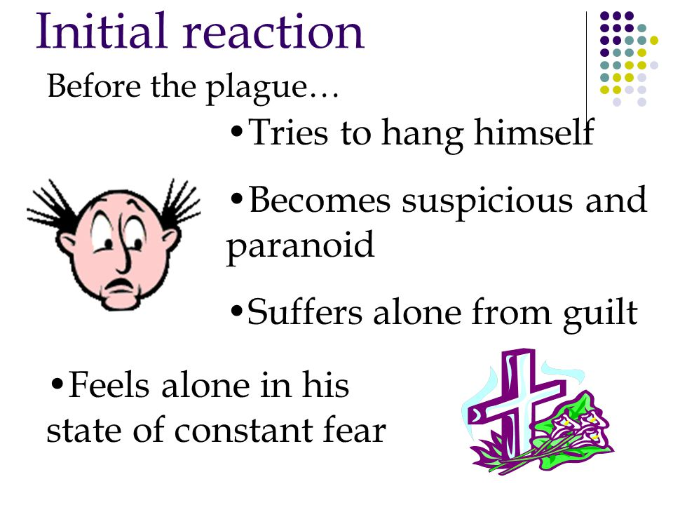Initial reaction Before the plague… Tries to hang himself Becomes suspicious and paranoid Suffers alone from guilt Feels alone in his state of constant fear