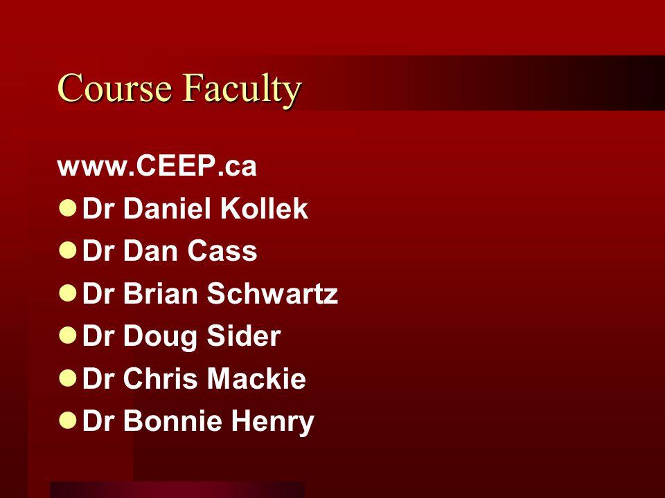 Course Faculty www.CEEP.ca Dr Daniel Kollek Dr Dan Cass Dr Brian Schwartz Dr Doug Sider Dr Chris Mackie Dr Bonnie Henry