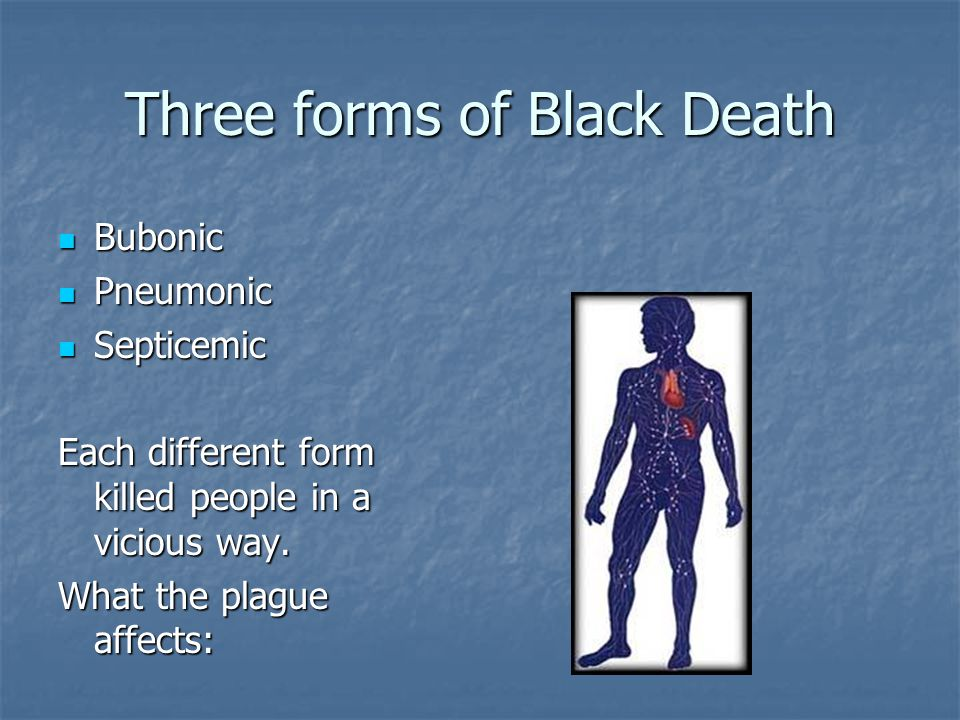 Three forms of Black Death Bubonic Bubonic Pneumonic Pneumonic Septicemic Septicemic Each different form killed people in a vicious way.