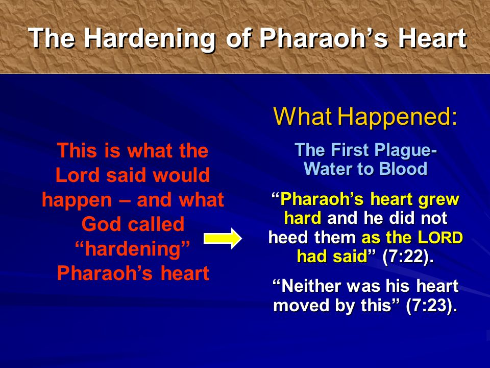 What Happened: The First Plague- Water to Blood Pharaoh's heart grew hard and he did not heed them as the L ORD had said (7:22).