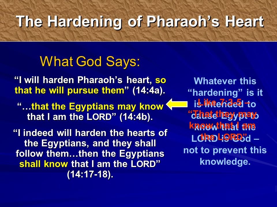 Whatever this hardening is it is intended to cause Egypt to know that the LORD is God – not to prevent this knowledge.